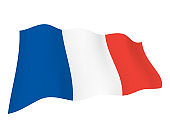Flag of France Waving In The Air - Vector