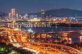 Night view Seoul city at south korea