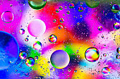Colorful artistic image of oil drop on water
