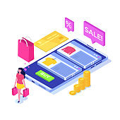 Online clothes  shopping, e-commerce sales, digital marketing.  Isometric vector illustration