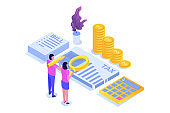 Pay tax online isometric concept. Accountant workspace elements. Vectorr illustration