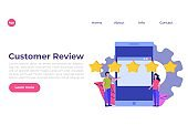 Customer review, Feedback consumer  flat style vector concept. People are holding stars.