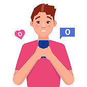 Loneliness concept. Man holding mobile phone with no message sign. Vector illustartion.