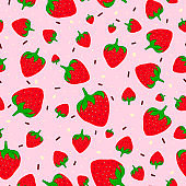 Seamless pattern with sweet strawberries and chocolate sprinkles.