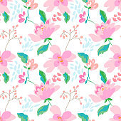 Floral seamless pattern with abstract flowers and leaves. Painted flowers background.
