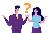 Man and woman have a question. Finding answers, solutions to problems concept. Modern flat vector illustration.