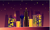 Flat illustration of night cityscape architecture of Chicago
