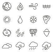 Nature Elements Icons Thin Line Vector Illustration Set