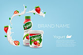 Strawberry yogurt ads with branded jar and bottle on bright background with milk splash commercial product mock-up vector realistic illustration