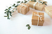 Craft gift boxes on white background.