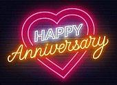 Happy anniversary neon sign. Greeting card on dark background.