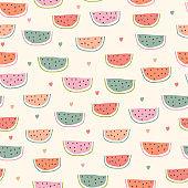 Childish seamless pattern with watermelon in scandinavian style