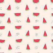 Childish seamless pattern with watermelon slice