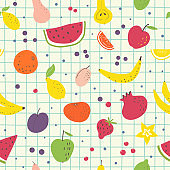 Cartoon fruits hand draw seamless pattern