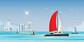 Blue sea view with luxury sailing ship yacht in the sea on city view background.