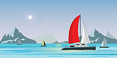 Blue sea view with luxury sailing ship yacht in the sea on lake view background
