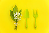 Flat Lay with gardening tools on yellow background