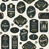 seamless pattern with labels for alcoholic drinks