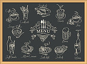 restaurant menu with sketches of different dishes