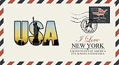 vector postcard with New York Statue of Liberty
