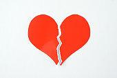 Broken heart-shaped paper on white background
