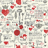 seamless pattern on theme of declarations of love