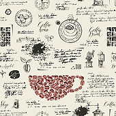 Vector seamless background on the coffee theme