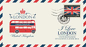 postcard or envelope with London double decker