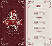 menu for restaurant with spoon and fork in hands