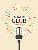 vector banner for karaoke club with microphone