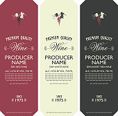 set of vector labels for wine with bunch of grapes