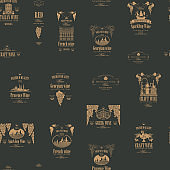 Vector seamless pattern with various wine labels