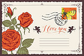 Vintage greeting card with inscription I love you