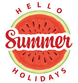 Vector summer banner with a funny watermelon