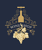 banner for wine shop with grape, bottle and corkscrew