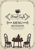 template street cafe menu with table for two