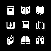 Set glyph icons of book