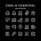 Set line icons of coal and charcoal
