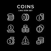 Set line icons of coins