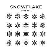 Set icons of snowflake