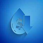 Paper cut Drop in crude oil price icon isolated on blue background. Oil industry crisis concept. Paper art style. Vector Illustration
