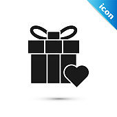 Black Gift box and heart icon isolated on white background. Valentines day.  Vector Illustration