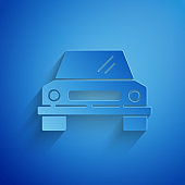 Paper cut Car icon isolated on blue background. Front view. Paper art style. Vector Illustration