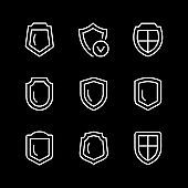 Set line icons of shield