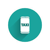White Taxi call telephone service icon isolated with long shadow. Taxi for smartphone. Green circle button. Vector Illustration