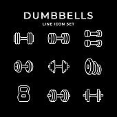 Set line icons of dumbbells