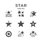Set glyph icons of star