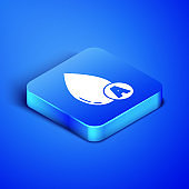 Isometric Water drop icon isolated on blue background. Blue square button. Vector Illustration
