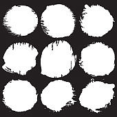 Watercolor white paint brush stroke background. Watercolor Spots. Creative abstract art handmade paint on white Background. Color grunge drops, blots or spray design element. Vector illustration.