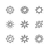Set line icons of sun